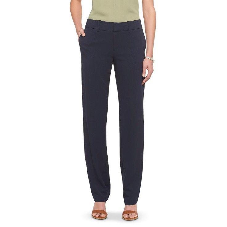 Women's Bi-Stretch Twill Straight Leg Classic Pant Federal Blue 12 Short - Merona