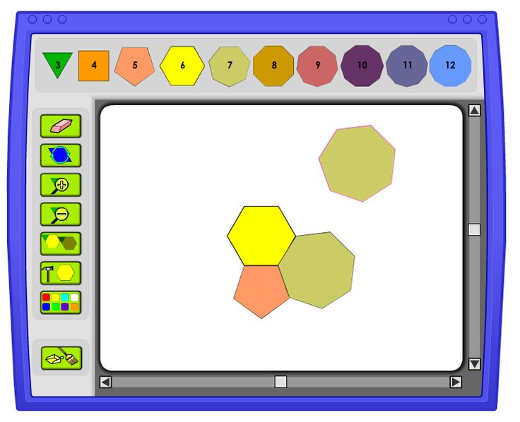 Tessellation Creator: A tessellation is a repeating pattern of polygons that covers a plane with no gaps or overlaps. What kind of tessellations can you make out of regular polygons?