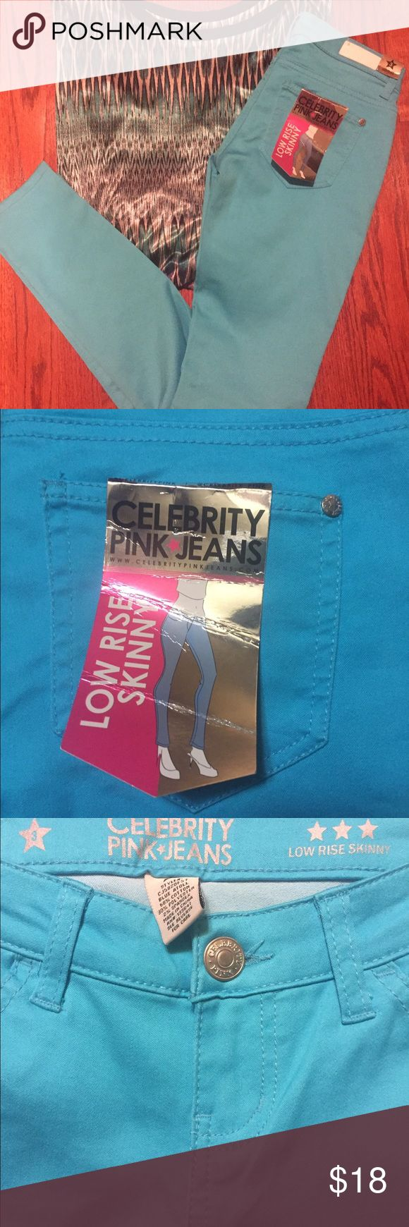 NWT Celebrity Pink Jeans Third pic is best of the real color!   Brand new stretchy turquoise colored jeans.  30 inch inseam.  Low rise skinny.  Super cute! Celebrity Pink Jeans Skinny