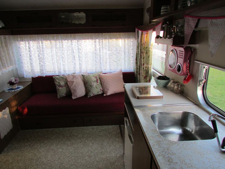 Interior seating doubles as single beds, Vintage Retro Caravan, Cosy Corner Holiday Park, Mt Maunganui, NZ