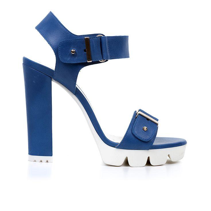 Code: 1008A02 Heel height: 11cm www.mourtzi.com #sandals #blue #lugsole