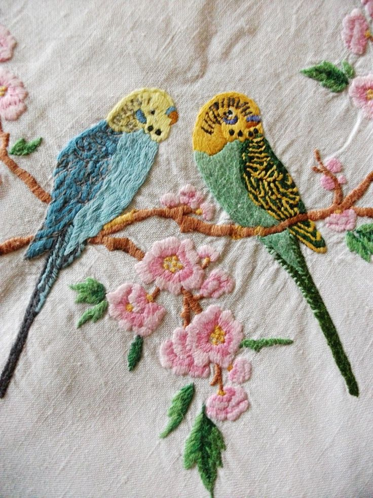 Vintage embroidered budgies hand embroidery pinterest for Applique vintage