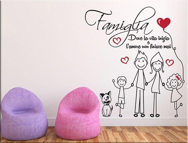 Dove Comprare Stickers Murali.Adesivi Murali Amore Famiglia Frase Arredo Ws1333 Stencil
