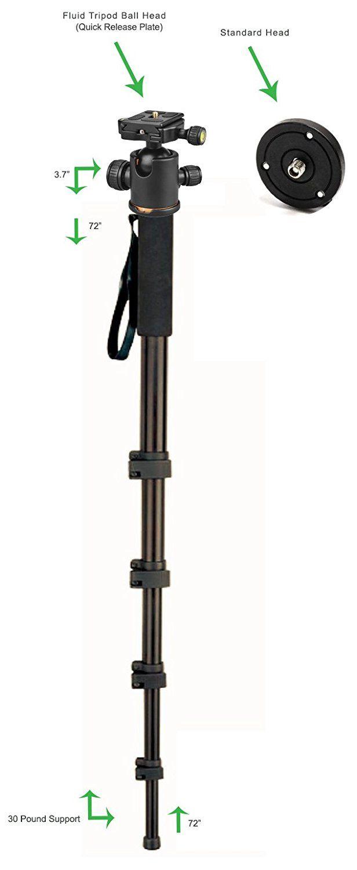 Professional Black 72 Monopod//Unipod for Canon Powershot S5 is Quick Release