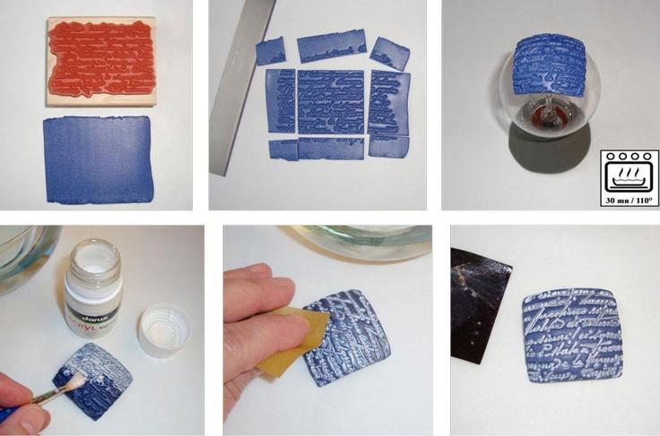 Přívěsek s texturou a květinami | Davona výtvarné návody #DIY #polymer #cernit