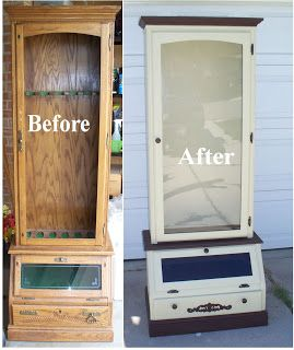 Repurposed, refinished gun cabinet to curio cabinet.