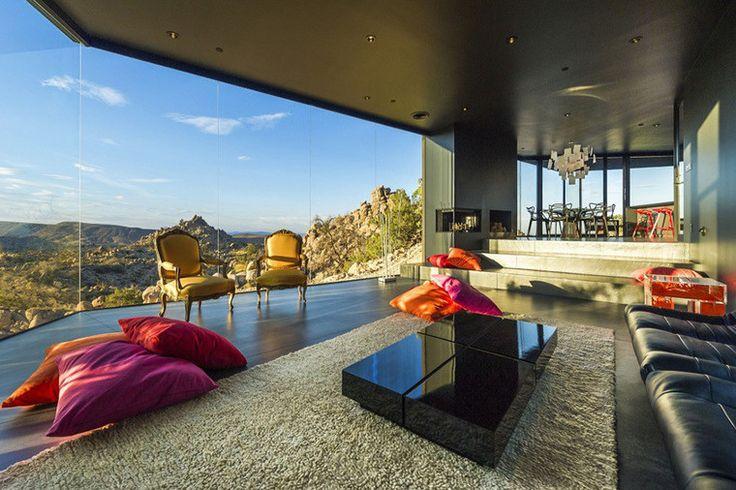 Черный дом в пустыне. Архитектурная визуализация теневой драматургии