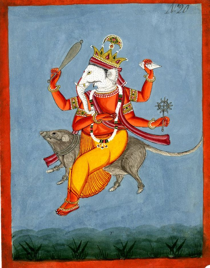 Gaṇeśa mounted on his rat. Gouache on paper. Inscribed. Rajasthan School. Date 1790-1810 (circa)