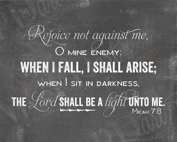 When I fall I shall arise Micah 7:8 KJV by WORDartbyKaren on Etsy