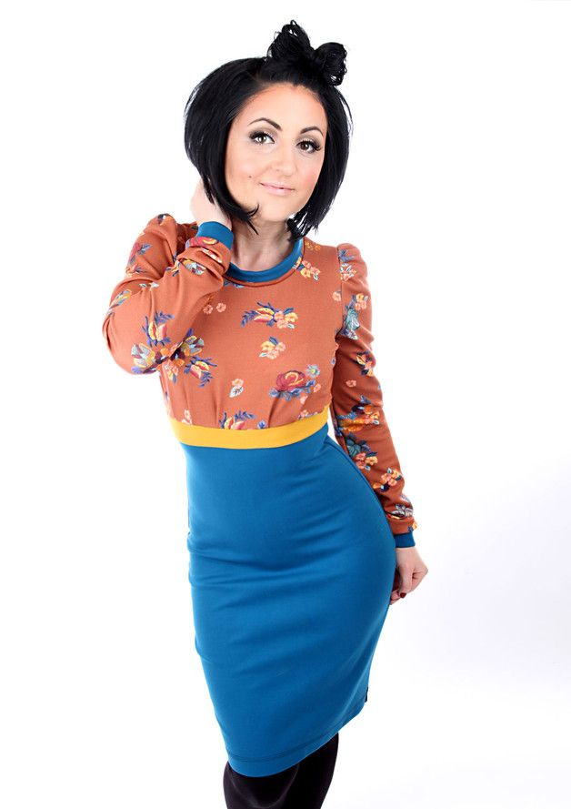 """Knielange Kleider - MEKO """"Pauly"""" Kleid Zimt Damen langarm Blumen - ein Designerstück von meko bei DaWanda"""