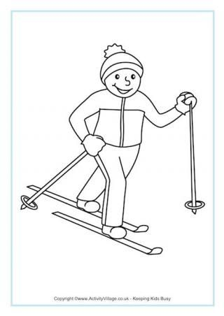 Cross Country Skiing Colouring Page: Winter Olympics Crafts for Kids. #StayCurious