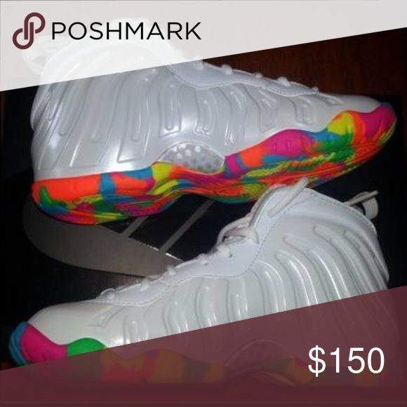Fruity pebble foam posites... Multi colored bottom, all white base WILL WORK WITH YOU ON PRICE ... Nike Shoes Athletic Shoes