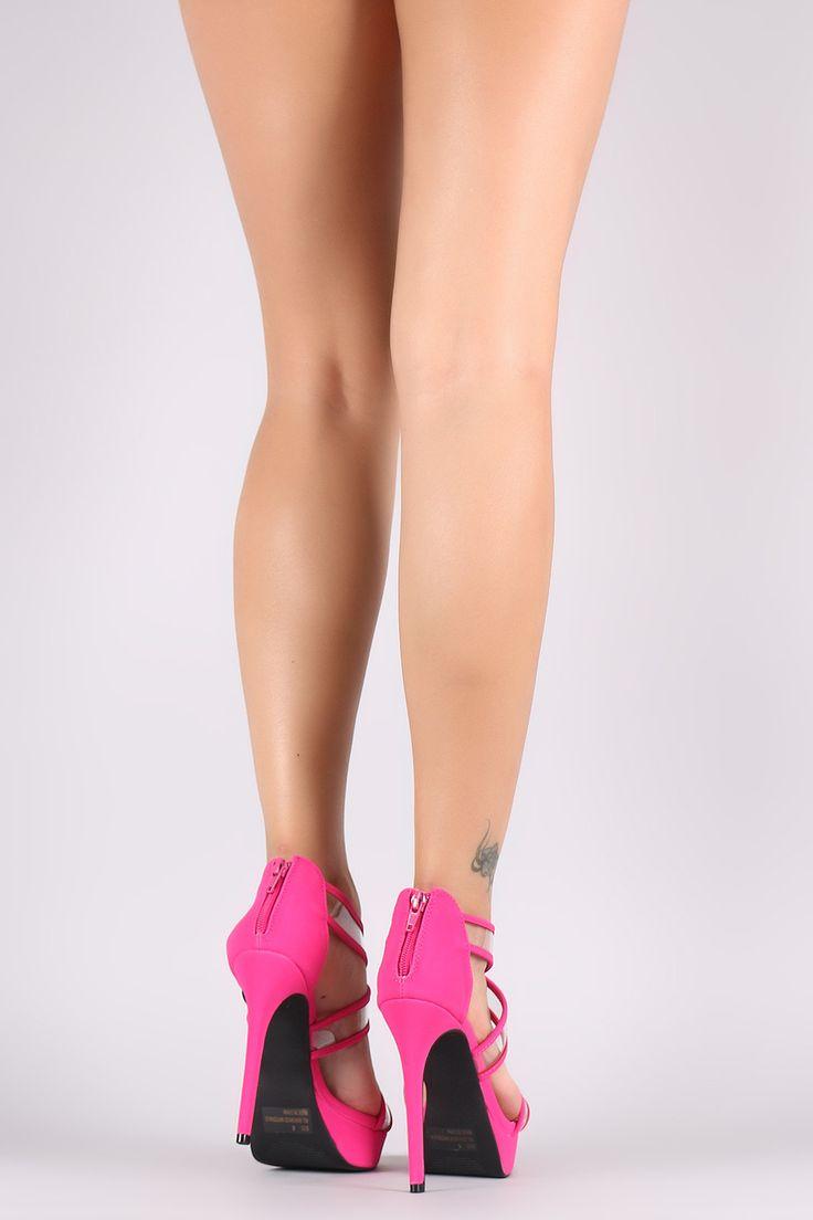 Qupid Open Toe Transparent Crisscross Strap Stiletto Heel