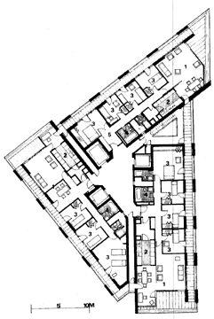 The Barbican, London, 1976 - Chamberlain Powell & Bon. Typical Tower Plan - three interlocking apartments, each with dual aspect.