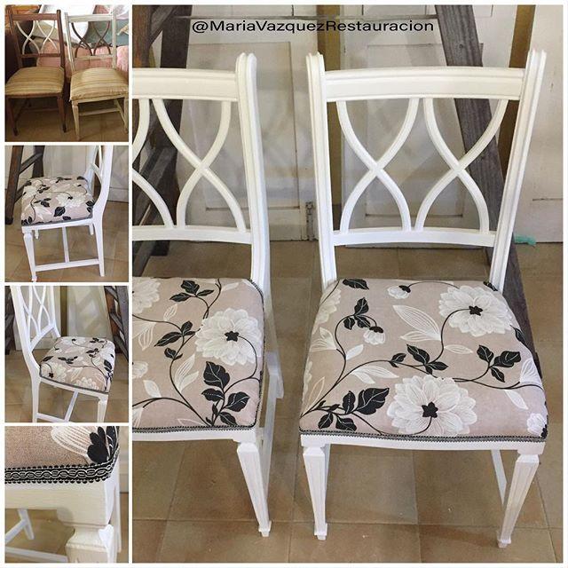 sillas antiguas pintadas de blanco