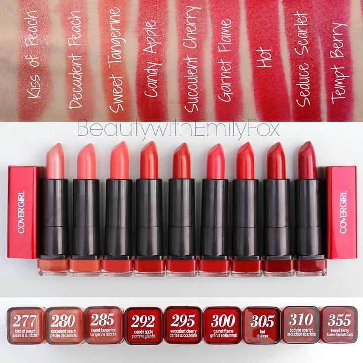 """#Swatches of the @COVERGIRL Colorlicious Lipstick Collection!  REDS (3/4)  GIVEAWAY Rules: -Follow me @BeautywithEmilyFox -Regram the post with your…"""
