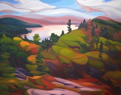 "Title: The HIlls of Pukaskwa  Medium: Oil on Canvas  Dimension: 16"" x 20""  by Jan Wheeler"