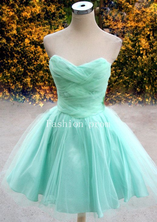 Light Green prom dress,homecoming dress,mini dress,short homecoming,formal dress,bridesmaid dress,Blue Short Strapless Prom Dress
