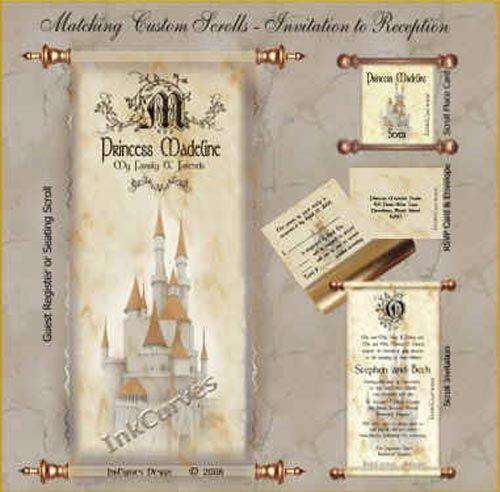 28 Best Medieval Wedding Invitations Images On Pinterest: Cinderella Wedding Theme Invitations Vintage Scroll