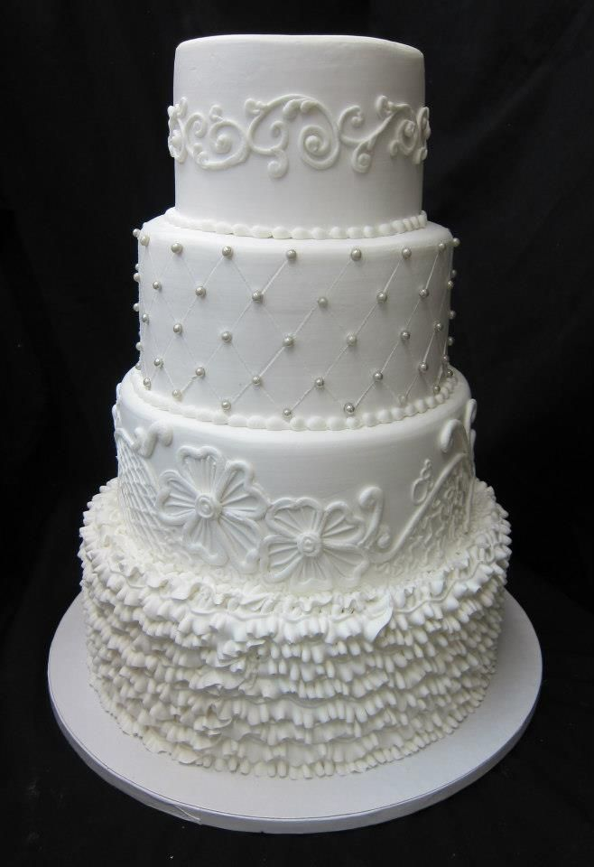 Can T Decide On One Design For Your Wedding Cake Ercream Iced Ruffled And Piped With Details By Stephanie Dillon Hy Vee