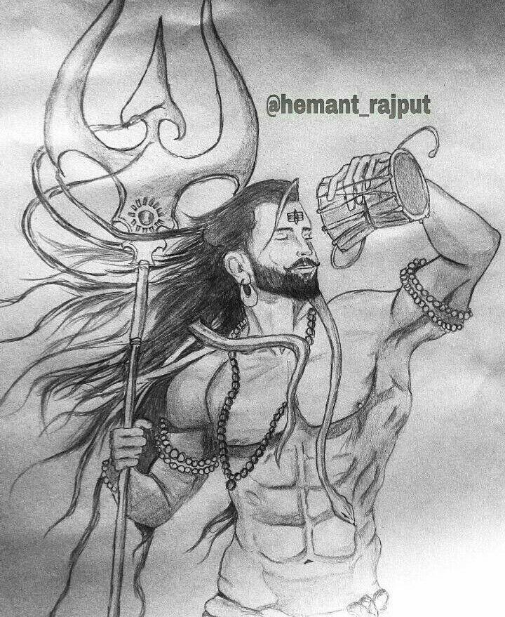 Hindu tattoos shiva tattoo shiva art mahakal shiva indian gods pencil art animal paintings art sketches lord shiva sketch