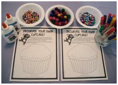 If you give a cat a cupcake:  I found some free printables for this story on www.harpercollinschildrens.com. Click HERE for the picture above. I set out markers, glittery pom poms, sequins, sprinkles, and glue for my kids to decorate the cupcakes. They both enjoyed this activity as well.
