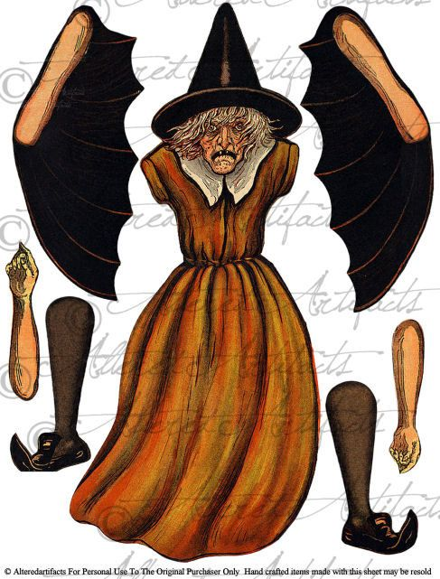 Wicked Witch Paper Doll Printable Witch Puppet by AlteredArtifacts