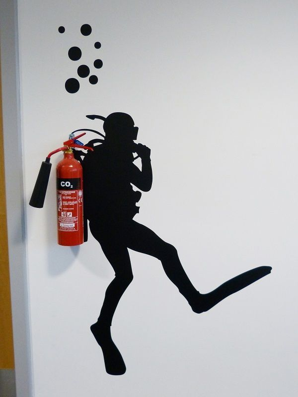 I found this sticker for the fire extinguisher at Amazon: https://www.amazon.com/gp/product/B00MB1ORIW/ref=as_li_tl?ie=UTF8&camp=1789&creative=9325&creativeASIN=B00MB1ORIW&linkCode=as2&tag=thgrwaho-20&linkId=579b478850c93d5204484e70cd7bb22d