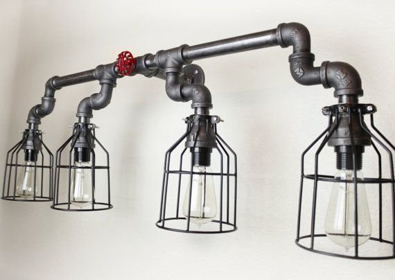 Industrial Pipe Lighting / Steampunk style electric wall sconce (Edison bulbs sold separately, See my shop)  Description: Wall Art / Light Fixture
