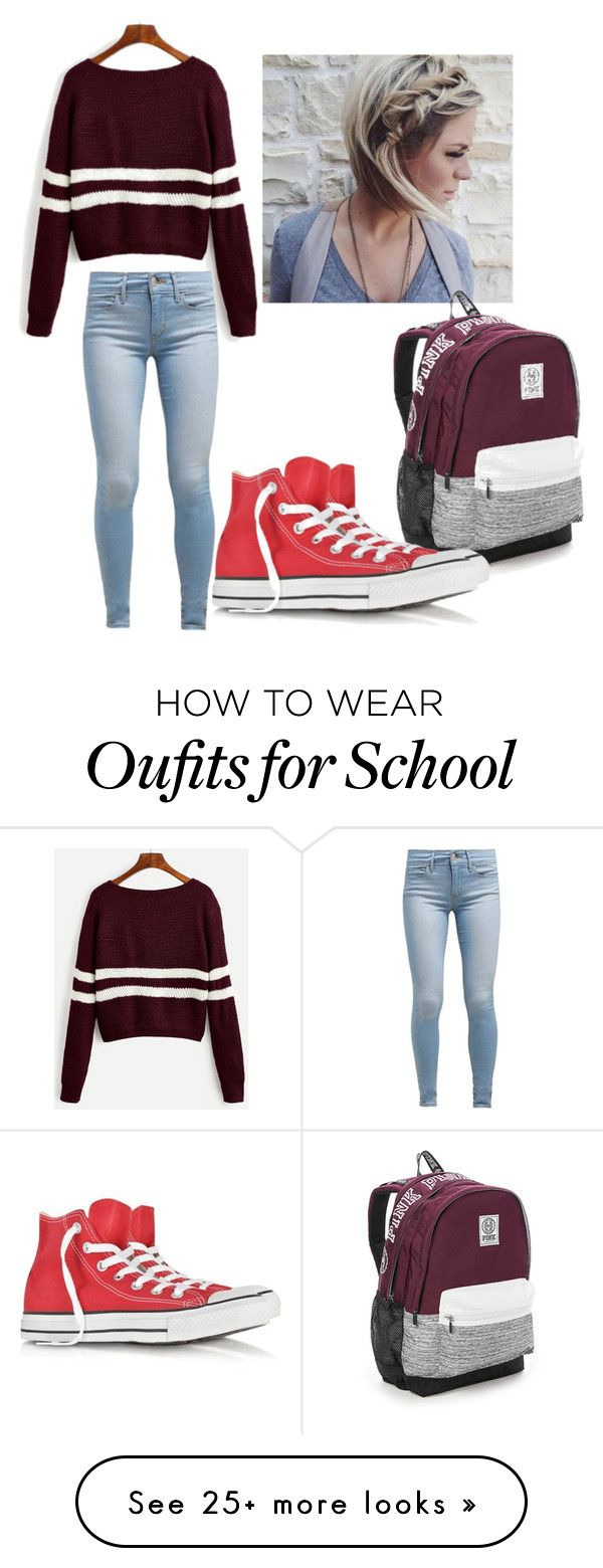 """SCHOOL TIME"" by safia4life on Polyvore featuring Levi's, Victoria's Secret and Converse"