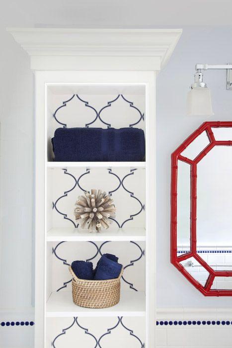 Navy Souk Trellis Shelf Backing