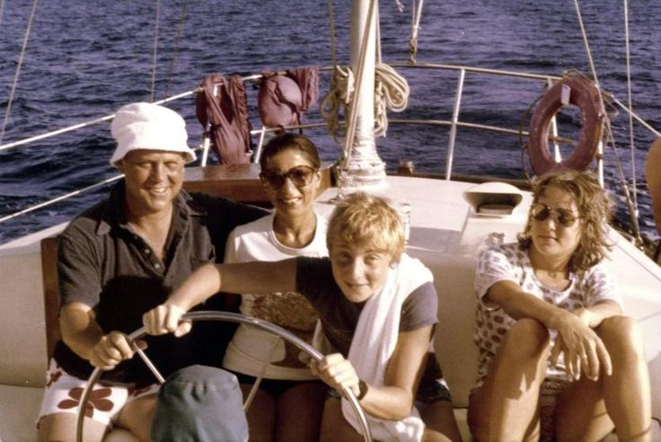 <b>December, 1980</b> Ruth Bader Ginsburg, her husband Martin Ginsburg, and their children James and Jane in a boat off the shore of St. Thomas in the Virgin Islands.