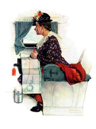"""""""Airplane Trip"""" or """"First Flight"""", June 4,1938 Giclee Print by Norman Rockwell at Art.com"""