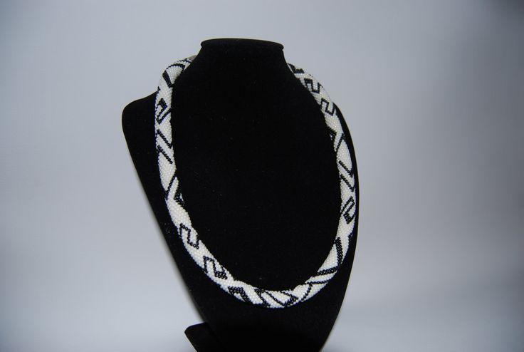White and Black ZigZag Necklace made with TOHO beads by BeaduBeadu on Etsy