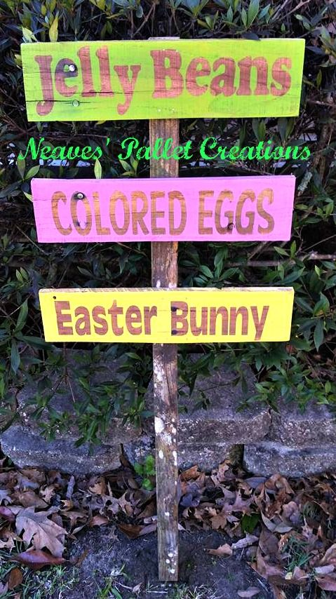 "RECYCLED WOOD PALLETS: We wanted to make some outdoor decorations for Easter. These are yard stakes that are 3.5' tall and approximately 14"" wide. We are selling them for $18 each. Message us to place your order. Item # 887"