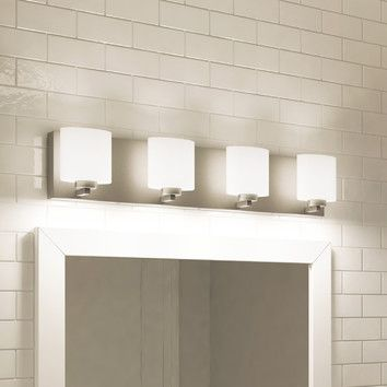 Features:  -Requires four (4) 5-watt LED base bulbs (Included).  -Bath Bar.  -Number of lights: 4.  Product Type: -Vanity light.  Style: -Contemporary.  Finish: -Satin Nickel.  Number of Lights: -4.