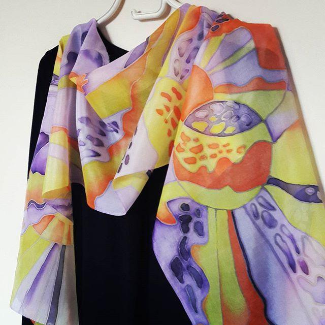 "Шарф ""Космос"" холодный батик понже #batik #silkscarf  #silkpainting  #handwork #handmade #handicraft #gift #malowanyjedwab #prezent #handpaintedsilk"