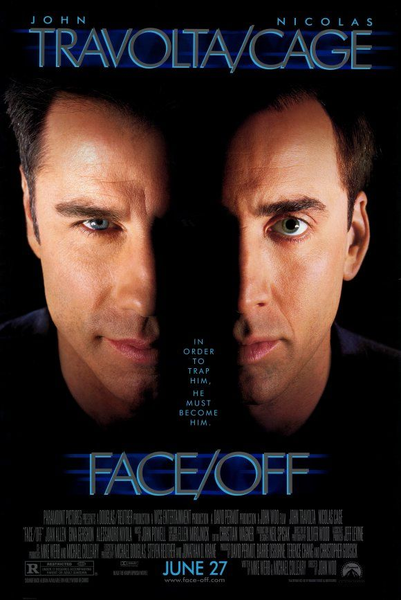 Face/Off (1997) (R) 2hr18min Stars: John Travolta, Nicolas Cage, Joan Allen, Alessandro Nivola Director: John Woo Writers: Mike Werb, Michael Colleary Story: An FBI agent plans on infiltrating a plot by assuming a face-transplant on a terrorist.