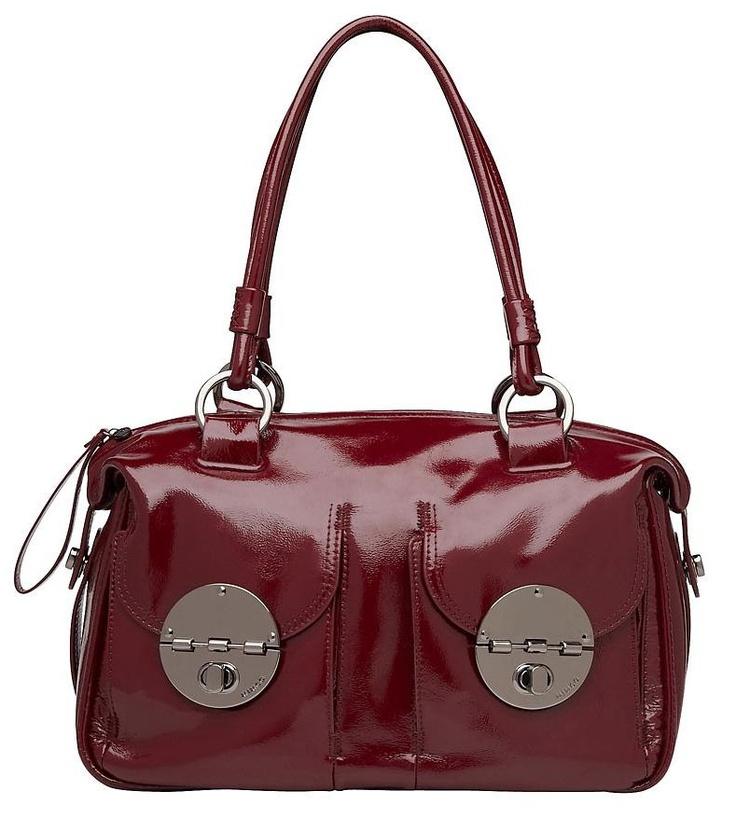 New Mimco Turnlock Zip Top Patent Leather Bag / Handbag In Red / Garnet Rrp$499