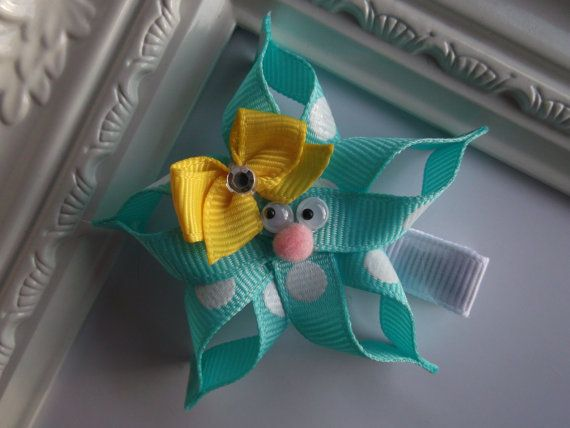 Starfish Ribbon Sculpture Hair Clip. Starfish by creationslove, $3.50