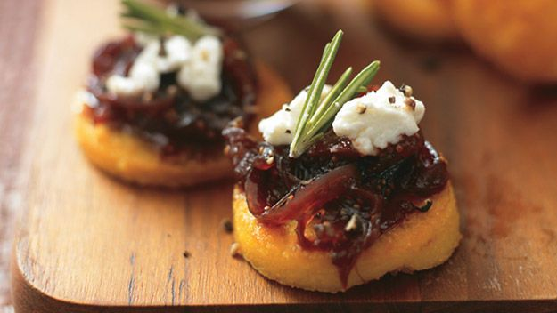 Canape: Polenta with fig and red onion relish and goat's cheese recipe. http://www.channel4.com/4food/recipes/vegetarian/polenta-with-fig-and-red-onion-relish-and-goats-cheese-recipe