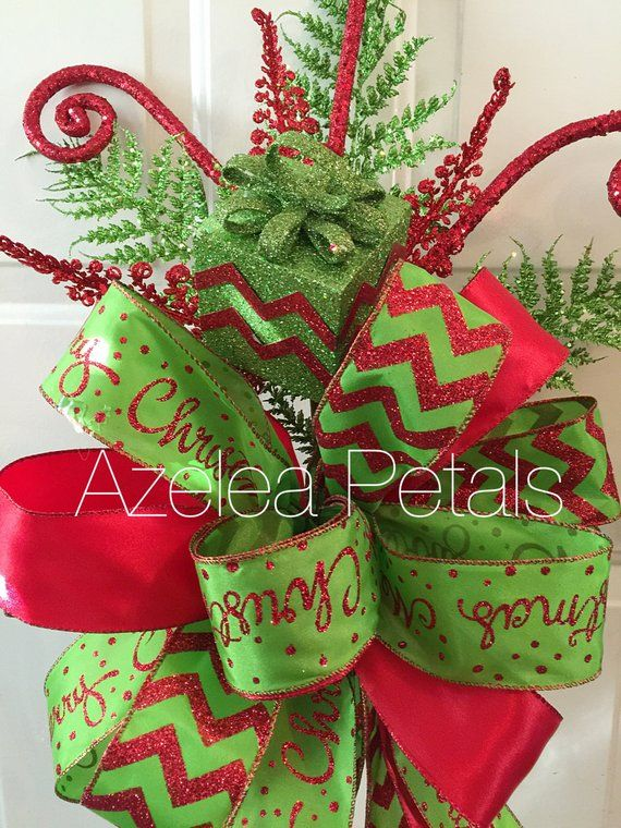 Present Christmas Tree Topper Red And Lime Green Bow Chevron