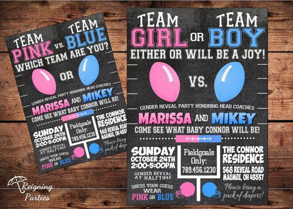 Football Theme - Team Pink vs Team Blue - Team Girl or Team Boy - Gender Reveal Baby Shower Invitation