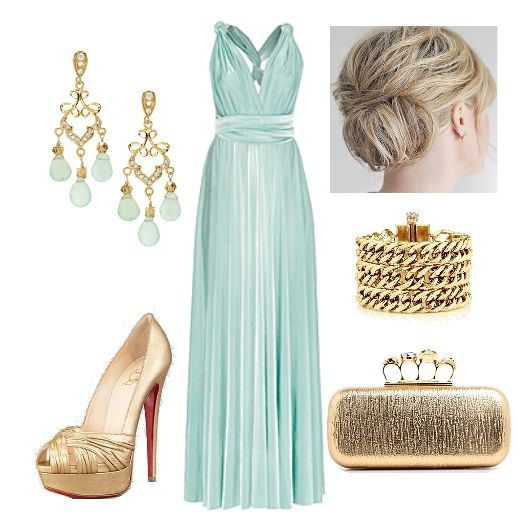 mint and gold wedding guest outfit