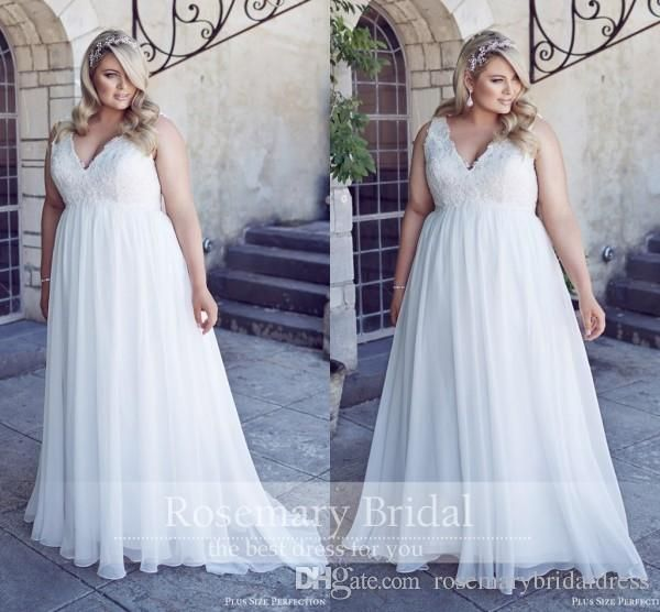 V Neck Lace Appliques Plus Size Wedding Dresses 2016 Beading Pearls A Line Long Chiffon Beach Wedding Dress Cheap White Gowns Search Wedding Dresses Short A Line Wedding Dress From Rosemarybridaldress, $108.25| Dhgate.Com