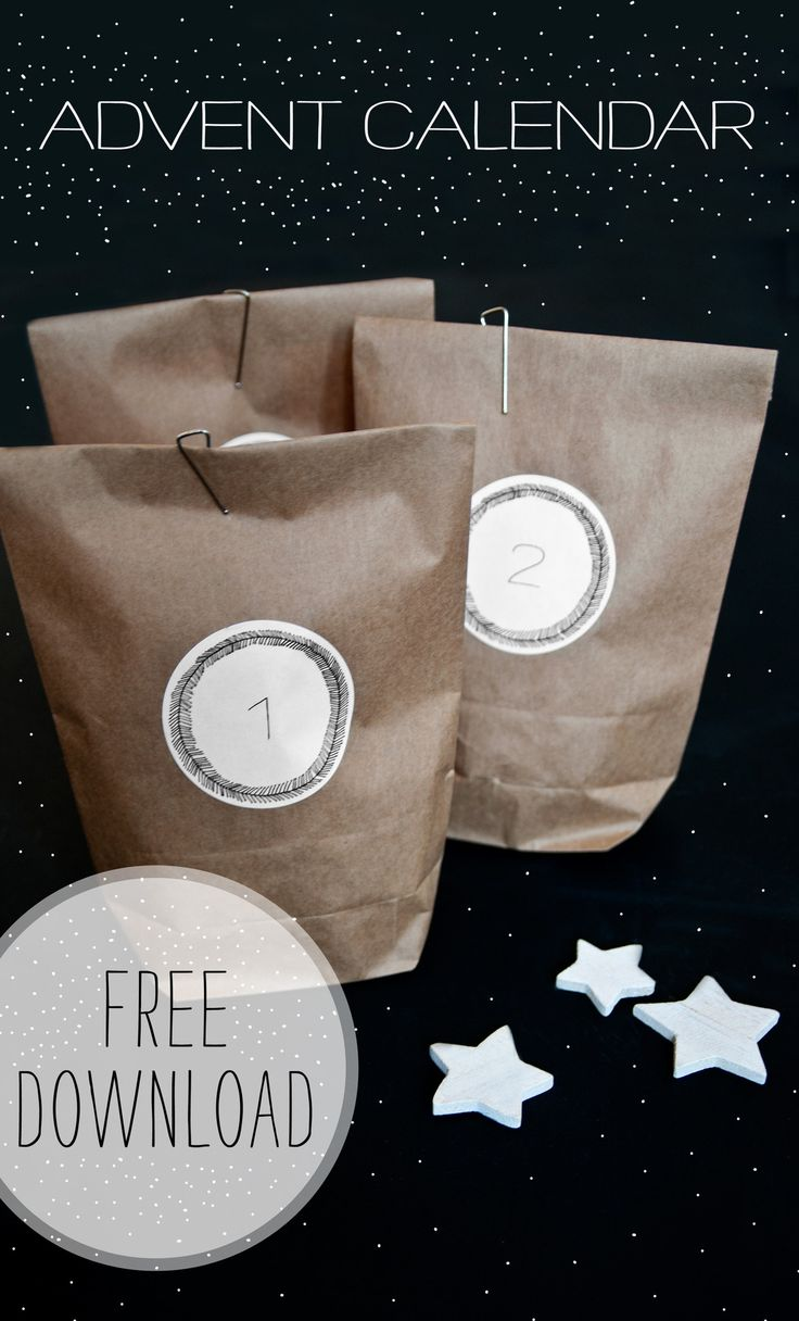 Click here to download a PDF with 24 round stickers for you to create your own advent calendar by sticking them on paper bags, boxes or wrapping paper. The stickers fit perfectly on these round labels.