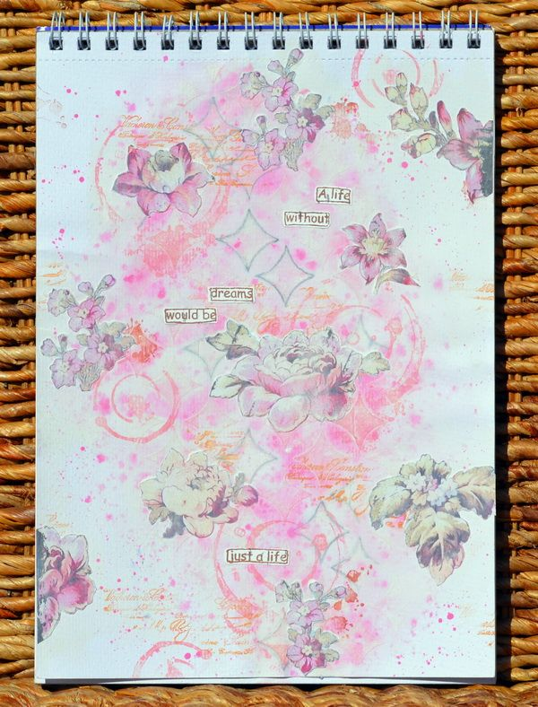 Art Journal Page using bits and pieces from the FabScraps Vintage Elegance Collection