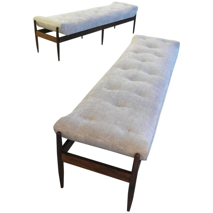 Pair of Gondola Style Midcentury Benches | From a unique collection of antique and modern benches at https://www.1stdibs.com/furniture/seating/benches/