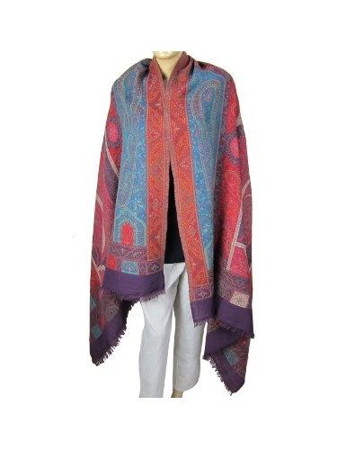 Châle pur laine - Motifs Paisley - Lumineux et coloré pour femme - Etole du Cachemire tissée sur métier manuel - 213 Cm x 101 Cm: Amazon.fr: Vêtements et accessoires