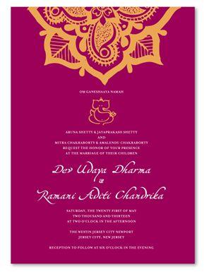 Indian Wedding Invitations - Hena Flower